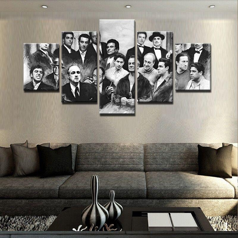 5 Pcs Gangster Movie Painting Print Modern Canvas Wall Art Poster With Movies Canvas Wall Art (Image 3 of 20)