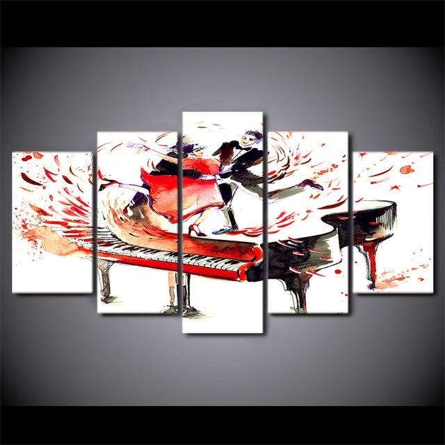 5 Pcs/set Hd Printed Abstract Piano Couple Dance Modern Wall Decor Throughout Abstract Piano Wall Art (Image 4 of 20)