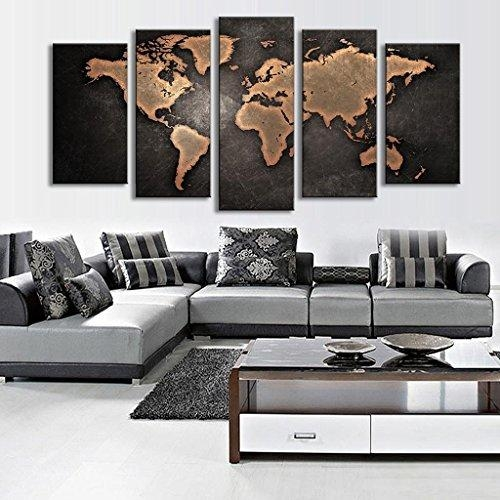 5 Pcs/set Modern Abstract Wall Art Painting World Map Canvas With Abstract Wall Art For Living Room (Photo 15 of 20)