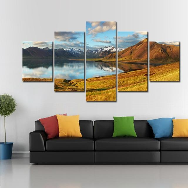 5 Pcs/set Mountains With Lake Canvas Print Painting Modern Large In Mountains Canvas Wall Art (Image 5 of 20)