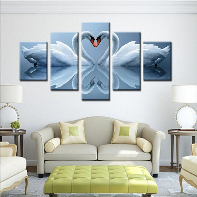 5 Piece A Pair Swan Loving Heart Wall Painting View Modern Home Regarding Canvas Wall Art Pairs (View 15 of 20)