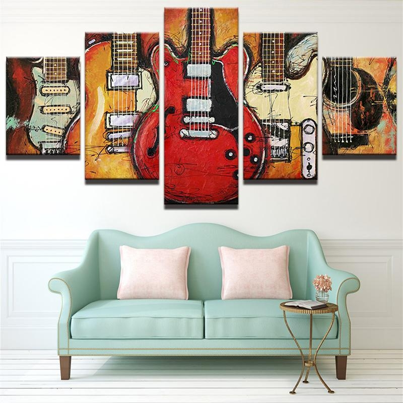 5 Piece Abstract Canvas Wall Art Acoustic Guitar Lover Music With Abstract Wall Art Posters (Image 1 of 20)