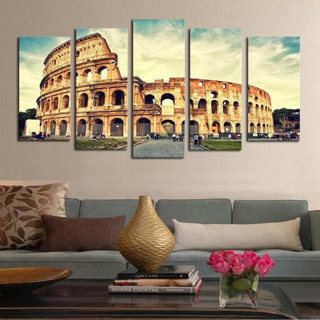 5 Piece Art Classical Architecture Scenery Rome Colosseum Print Pertaining To Canvas Wall Art Of Rome (Image 5 of 20)
