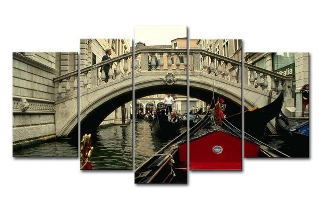5 Piece Black White And Red Wall Art Painting Italy Venice Bridge With Regard To Canvas Wall Art Of Italy (Photo 16 of 20)