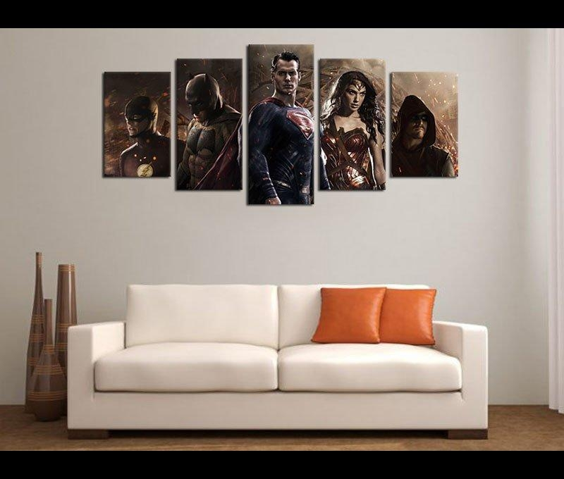 5 Piece Canvas Art Justice League Movie Canvas Wall Art Decor In Movies Canvas Wall Art (Image 4 of 20)