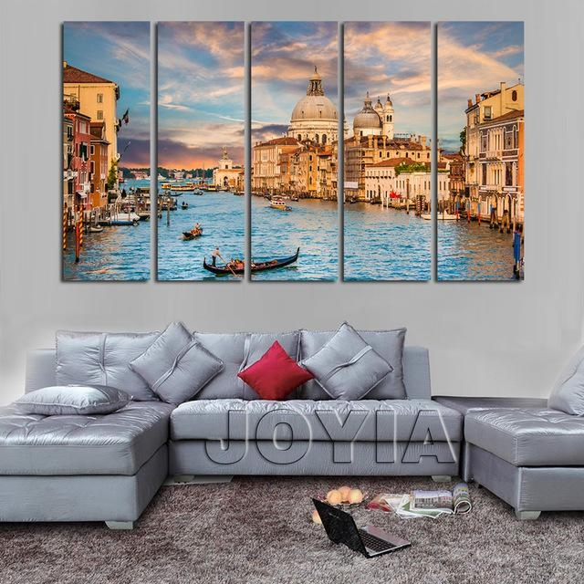 5 Piece Canvas Art Landscape Venice Italy Painting On Canvas Water With Regard To Canvas Wall Art Of Italy (Image 5 of 20)