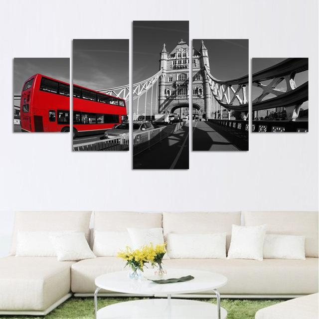 5 Piece Canvas Painting Print On Canvas Wall Art London Bus Inside Canvas Wall Art Of London (Photo 5 of 20)