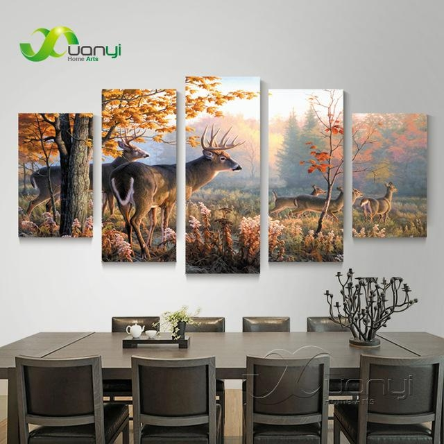 5 Piece Canvas Wall Art Deer Animal Pictures Hd Printed Wall Within Deer Canvas Wall Art (View 10 of 20)