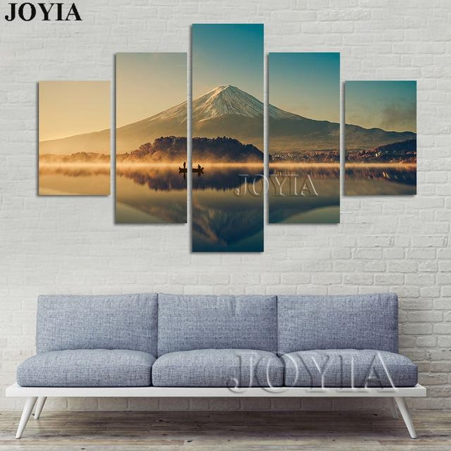 5 Piece Canvas Wall Art Mount Fuji Modern Paintings Mountain Lake With Japanese Canvas Wall Art (View 20 of 20)