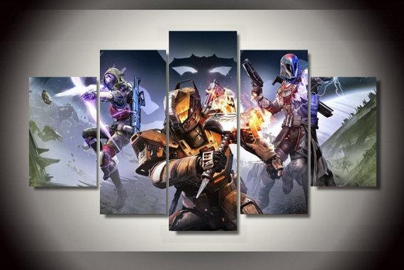 5 Piece Multi Panel Destiny Game Wall Canvas Art, High Quality Regarding Gaming Canvas Wall Art (Image 6 of 20)