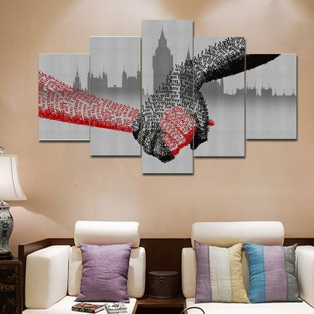 5 Piece Picture Of Shake Hands Wall Art Canvas Modular Painting Within Abstract Office Wall Art (Photo 12 of 20)
