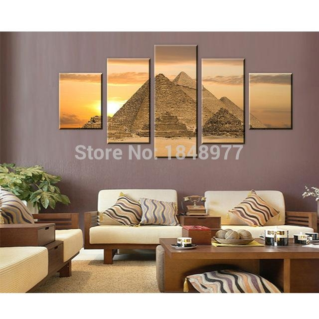 5 Piece The Most Mysterious Tomb Egyptian Pyramids Canvas Wall Art Throughout Egyptian Canvas Wall Art (Photo 6 of 20)