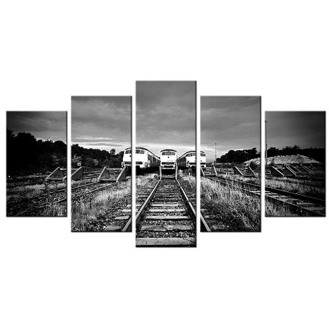 5 Piece Wall Art Decor Black&white Train Tracks Modern Painting Hd Regarding Retro Canvas Wall Art (Image 5 of 20)
