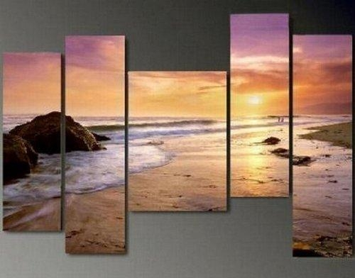 5 Piece Wall Art Hawaii Beach Sunset Large Painting 100% Hand Within Hawaii Canvas Wall Art (Image 5 of 20)