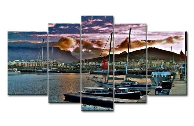 5 Piece Wall Art Painting City Capetown South Africa Wharf Ships Inside Cape Town Canvas Wall Art (Image 1 of 20)