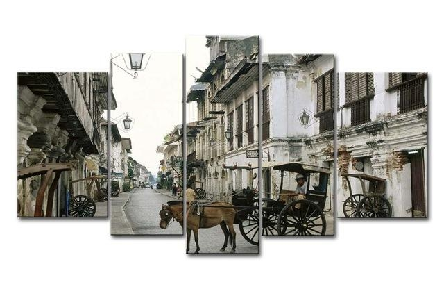5 Piece Wall Art Painting Philippines Horse And Cart Picture Print Regarding Canvas Wall Art Of Philippines (Photo 1 of 20)