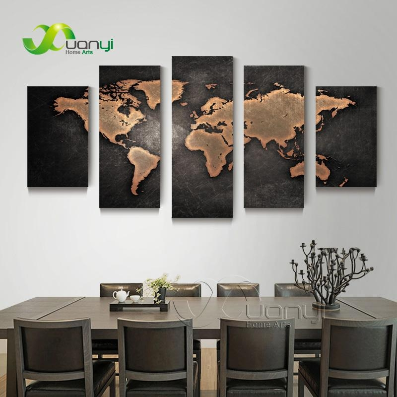 5 Piece Wall Art World Map Canvas Abstract Oil Painting Artwork For Maps Canvas Wall Art (View 18 of 20)