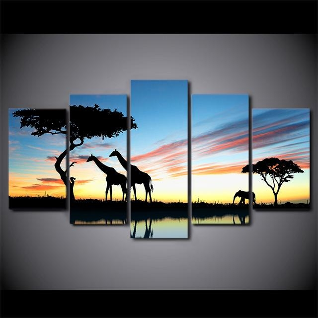 5 Pieces Canvas Prints Africa Landscape Safari Painting Wall Art Intended For Safari Canvas Wall Art (Image 2 of 20)