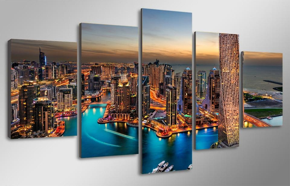 5 Pieces Canvas Prints Dubai City View Landscape Skyscrapers Inside Dubai Canvas Wall Art (Image 3 of 20)