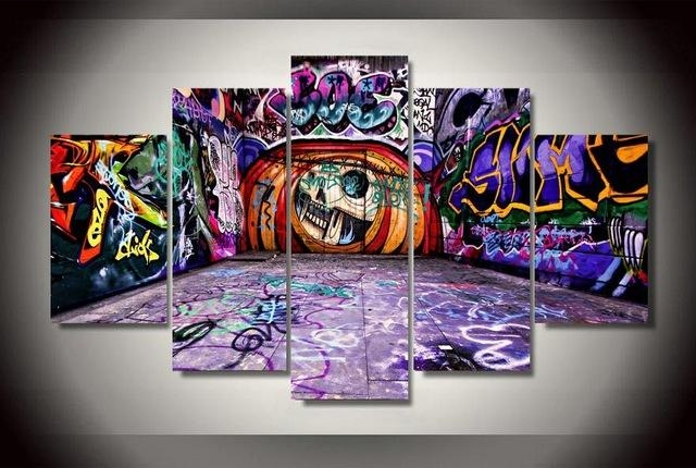 5 Pieces Canvas Prints Graffiti Art Painting Wall Art Home Decor For Graffiti Canvas Wall Art (Image 2 of 20)