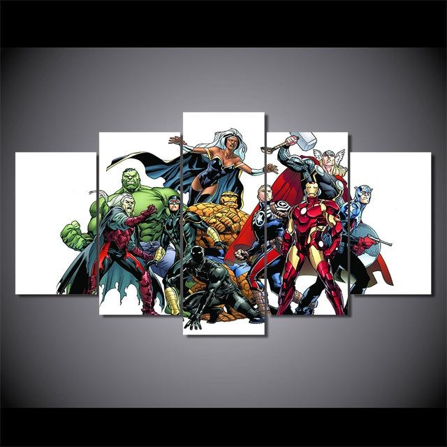 5 Pieces Canvas Prints Marvel Hero Comics Painting Wall Art Panels Intended For Marvel Canvas Wall Art (Photo 6 of 20)