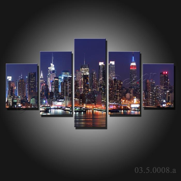5 Pieces Large Canvas Painting New York City At Night Canvas For Canvas Wall Art Of New York City (View 9 of 20)