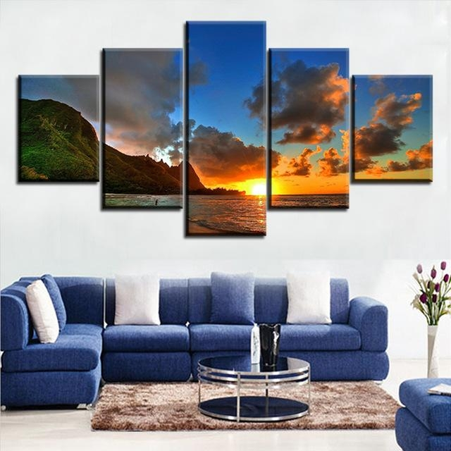 5 Pieces Modern Printed Blue Sunset Hawaii Canvas Prints Wall Art Pertaining To Hawaii Canvas Wall Art (Image 6 of 20)