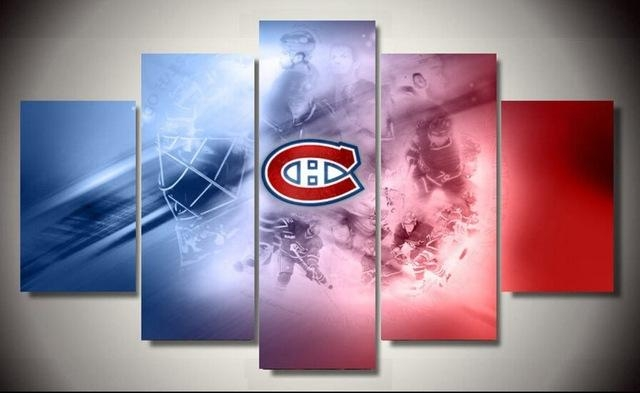5 Pieces Montreal Canadiens Sports Team Logo Ainting Canvas Wall With Regard To Montreal Canvas Wall Art (Image 4 of 20)