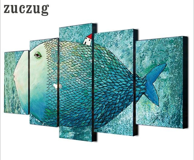 5 Pieces Nordic Art Canvas Painting Abstract Fish Wall Art Regarding Abstract Fish Wall Art (Image 4 of 20)