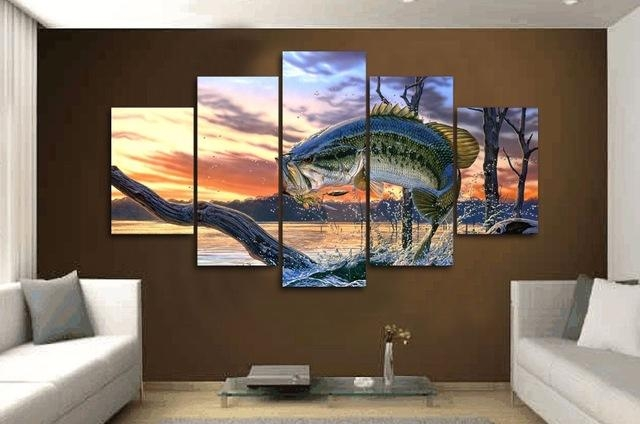 5 Pieces/set Carp Jumping Painting Print Canvas Wall Art Picture Regarding Jump Canvas Wall Art (Photo 5 of 20)