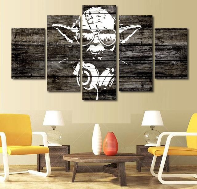 5 Pieces Star Wars Music Master Yoda Wall Art Picture Home With Regard To Masters Canvas Wall Art (View 9 of 20)
