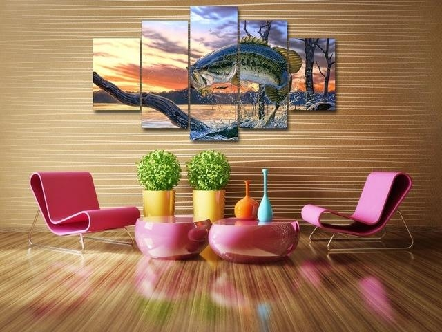 5 Piecesset Carp Jumping Painting Print Canvas Wall Art Picture Pertaining To Jump Canvas Wall Art (Image 9 of 20)