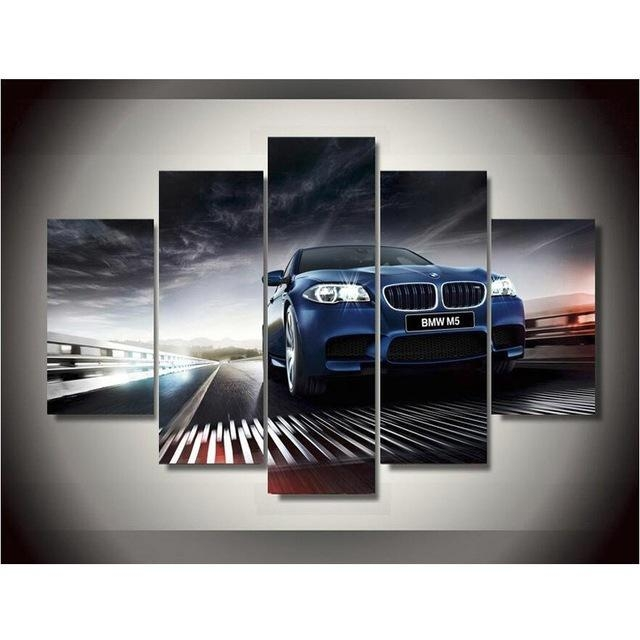 5 Plane Bmw Car Style Canvas Printing Wall Art Paintings Home Pertaining To Bmw Canvas Wall Art (View 1 of 20)