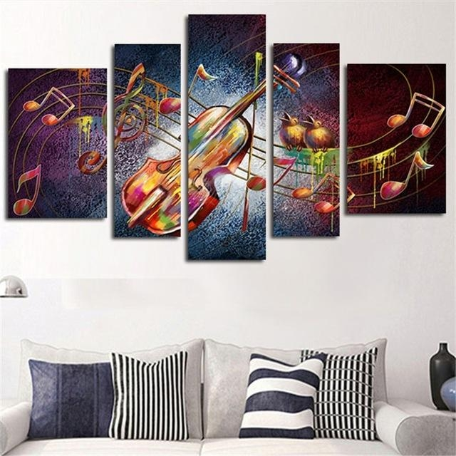5 Planes Large Huge Size Wall Art Canvas Painting Guitar Music In Music Canvas Wall Art (Photo 20 of 20)