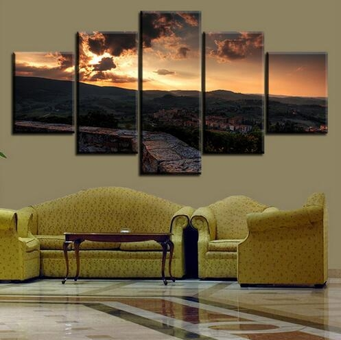 5 Set Toscana Italy Tuscany Sunset Town Sky No Frame Oil Painting Intended For Italy Canvas Wall Art (Image 6 of 20)