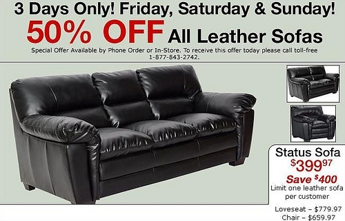 50% Off All Leather Sofas @ The Brick – Access Winnipeg With The Brick Leather Sofas (Photo 4 of 10)