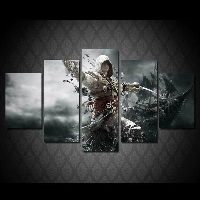 5Panels Art Canvas Print Assassins Creed Gaming Posters Wall Home For Gaming Canvas Wall Art (Image 7 of 20)