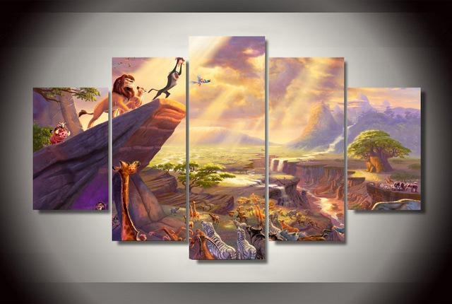 5Pcs No Frame Printed Lion King Painting Thomas Painting On Canvas Pertaining To Lion King Canvas Wall Art (Image 7 of 20)
