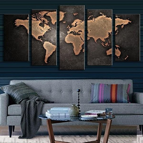 5Pcs Retro World Map Printed Canvas Print Unframed Wall Art Pertaining To Retro Canvas Wall Art (Image 6 of 20)