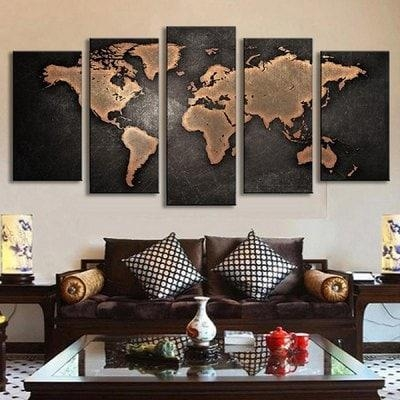 5Pcs Retro World Map Printed Canvas Print Unframed Wall Art With Regard To Retro Canvas Wall Art (Image 7 of 20)