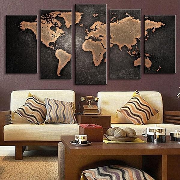5Pcs Retro World Map Printed Canvas Print Unframed Wall Art Within Retro Canvas Wall Art (Image 8 of 20)