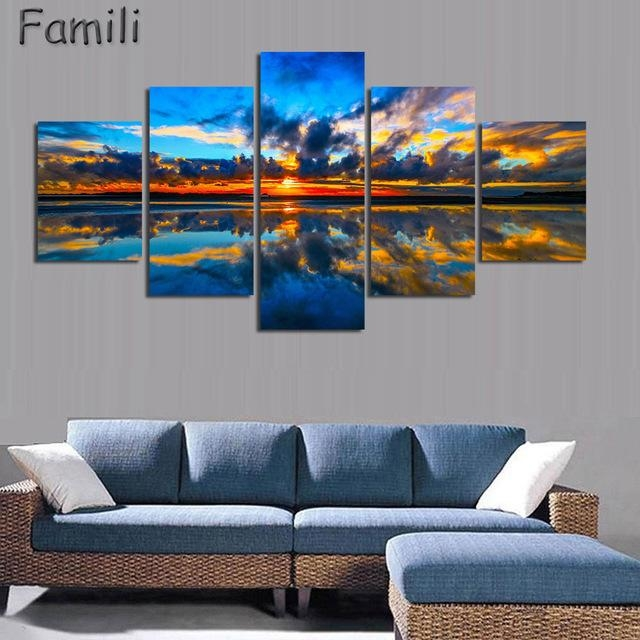 5Pcs/set Wall Art Painting New Zealand Blue Water Lake Mountain With Regard To New Zealand Canvas Wall Art (Image 8 of 20)
