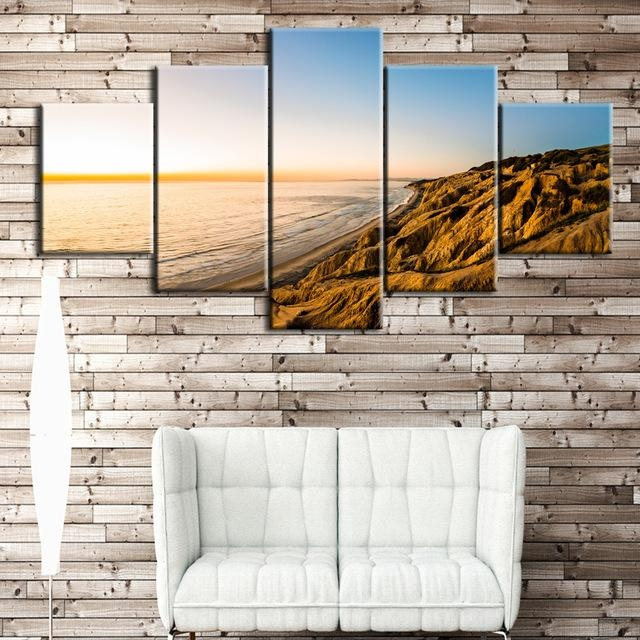 5Pcs The Gold Coast Printed Canvas Picture Oil Painting On Canvas Pertaining To Gold Coast Canvas Wall Art (Image 2 of 20)