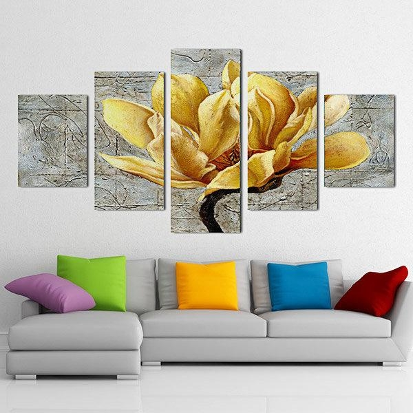 5Pcs Unframed Flowers Modern Painting Canvas Wall Art Picture Within Living Room Canvas Wall Art (Photo 18 of 20)