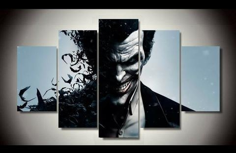 5Piece Canvas Art Wall Pictures Movie Poster Prints Joker Modern With Joker Canvas Wall Art (View 18 of 20)