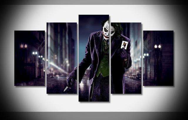 5Piece Movie Poster Prints Joker Canvas Art Modern Painting Regarding Joker Canvas Wall Art (View 6 of 20)