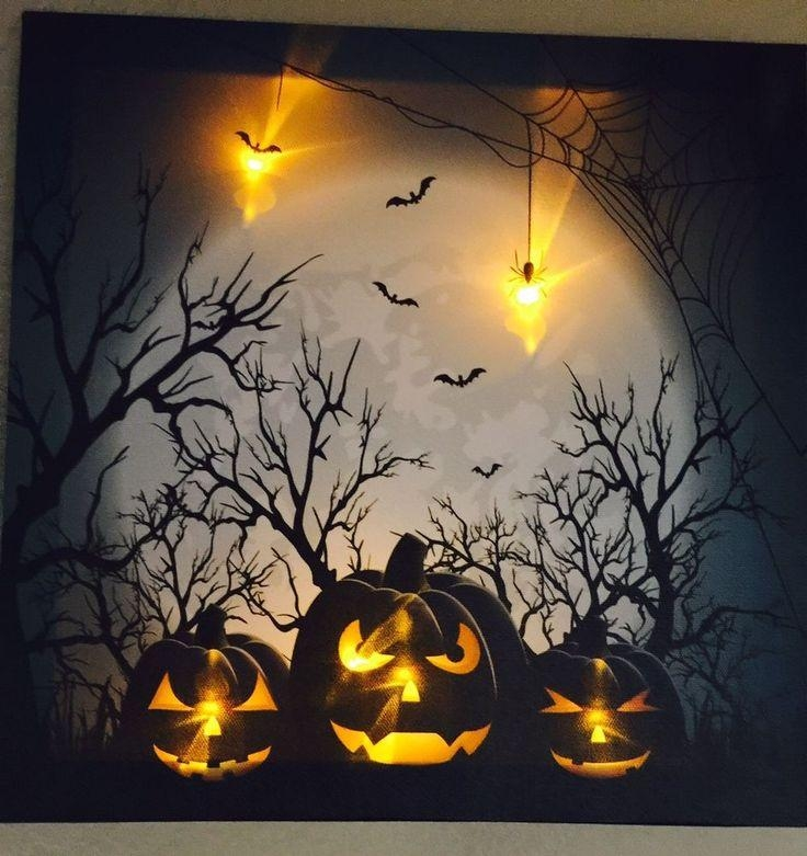 20 Collection Of Halloween Led Canvas Wall Art Wall Art