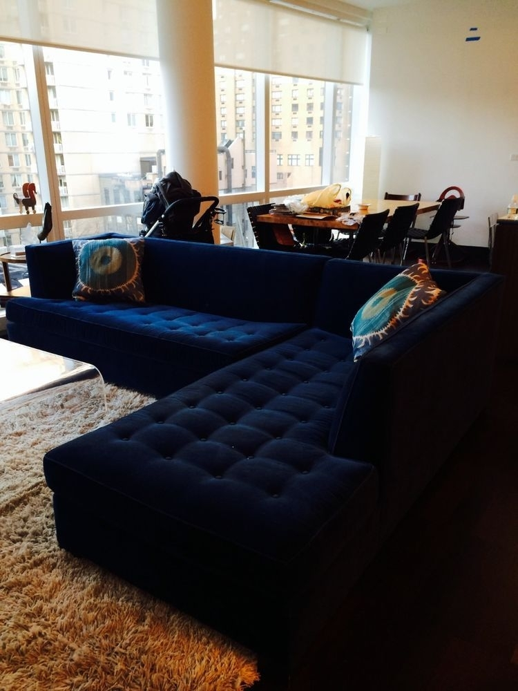 "$6500 Mitchell Gold Navy Blue Velvet Button Tufted ""jordan In Jordans Sectional Sofas (Image 1 of 10)"