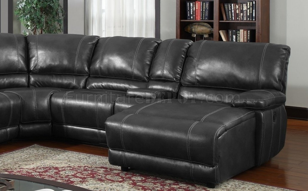 6Pc Motion Sectional Sofa Black Bonded Leatherglobal Pertaining To Leather Motion Sectional Sofas (View 6 of 10)