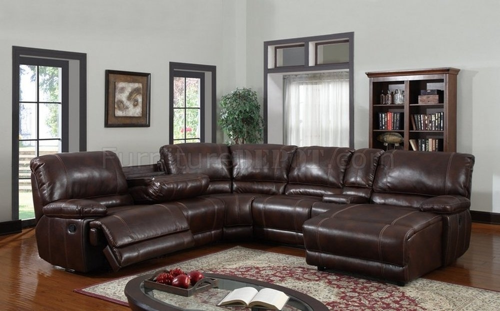 6Pc Reclining Sectional Sofa In Brown Bonded Leather Pertaining To 6 Piece Leather Sectional Sofas (Image 1 of 10)